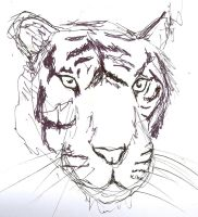 left handed drawing tiger by McMuffinNinjaFluffer