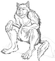 Sitting Werewolf by Vinzul