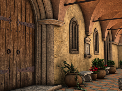 Premade Background Stock Monastery 02 by Roy3D