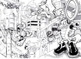 Team Chaotix spying on Oil Ocean Zone by Joelchan