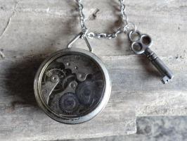 Steampunk watch and key necklace by Hiddendemon-666