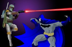 BATMAN vs BOBA FETT by johnnyBgood007