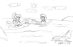 Lita and Misty playing in the sea by stephdumas