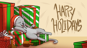 Animated - Drunk Kitty Holiday Card by ezpups