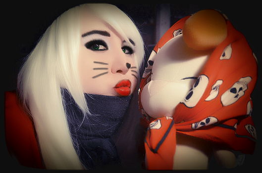 Red Kitty-Girl With Moogle - 2 by Putiko