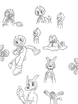 Bendy And Boris Doodle Pile by tails090