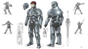 Galefire Saga - Mk. IV Exo-Shell Powered Armor by Michael-Galefire