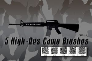5 High Resolution Camouflage Photoshop Brushes by designerfied