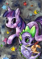 MLP: Fim - Twilight and Spike by KeyshaKitty