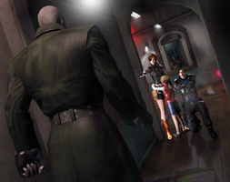 Mr X vs Claire x Leon x Sherry by DemonLeon3D