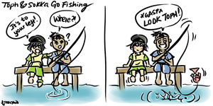 Toph and Sokka Go Fishing by ailynnfei