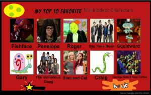 My top ten favorite nickelodeon characters by porygon2z