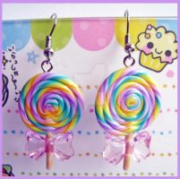 Lollipop Earrings - Pink Bow by cherryboop
