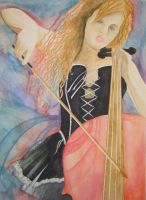 watercolor chello girl by Malici0us