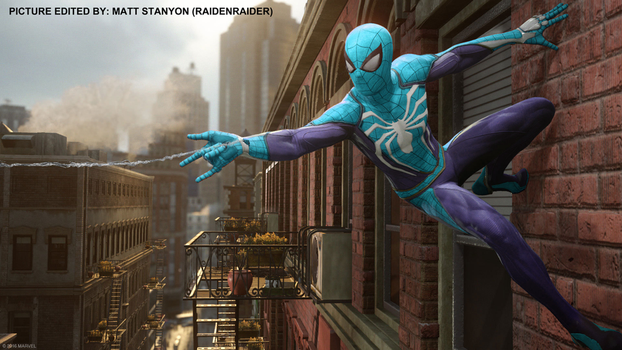 Spider-Man PS4 - Fan Poster (Blue Suit) by RaidenRaider