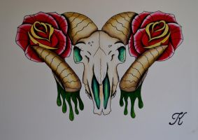 Ram skull and roses by BeyondEdge