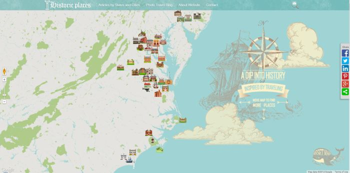 Historic places interactive, custom designed map by AlexandraF