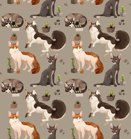 Cat and Cacti pattern by MapleSpyder