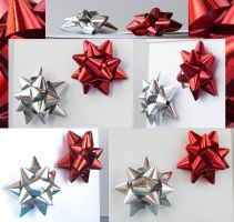 Christmas Decorations. Red and Silver Bows by mangorielle
