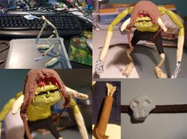 various stages of making a poseable bulblin doll by ragedaisy