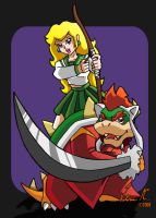 Priestess Peach and Inu-Bowser by roninshewolf