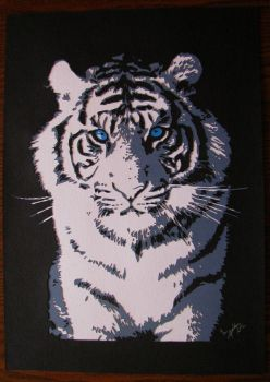white tiger paper cut by EternityArtist