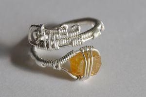 Wire Wrapped, Sterling Silver, Ring, Sapphire by trippi-thoughts