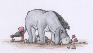 Eeyore with roses by Scellanis
