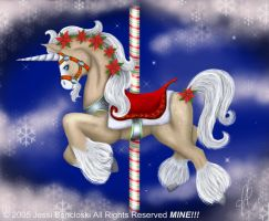 Christmas Carousel Unicorn by benwhoski