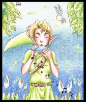 Link playing Ocarina by Wictorian-Art