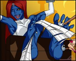 Mystique Tickled - X-Men by OekakiTickles