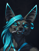 Cyan Sneer by Shadow-Wolf