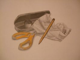 Pencil, drawing ink, scissors by Hermy46