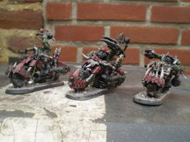 Ork Nob Biker Squad of 3 by Punk-Noir