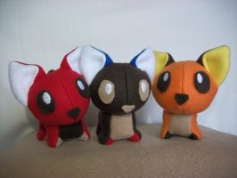 Candy Cats - Kitkat, Snickers, Reeses plush by YoshiFan37