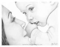 My ART DRAWING:Mother and Baby by OlgaBell