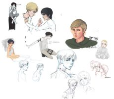 attack on titan sketches by furyofwrath