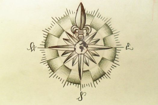 Compass Tattoo Design (Commission) by 814CK5T4R by 814CK5T4R