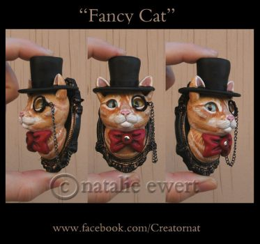 Fancy Cat The Sulpted Feline Brooch by natamon