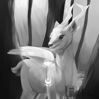 [Greyscale] Etheral Deer by Fillyflight