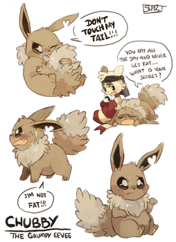 Chubby the grumpy eevee by fu-fighters