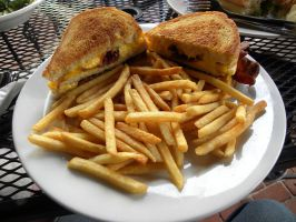Grilled cheese with bacon and fries by Cassini90125