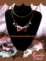Melty Chocolate Bow Necklace by XxViolentxLolitaxX