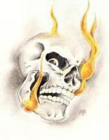 Flaming Skull by Pogo-Tattoo