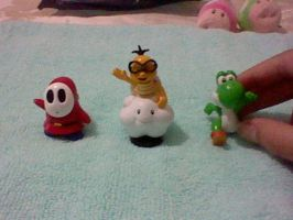 Shy Guy, Lakitu and Green Yoshi Figurines by Misskatt66