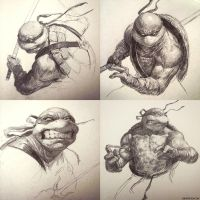 TMNT Sketch Collection! by DavidRapozaArt