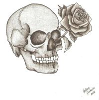 Skull and rose by Lena-LU