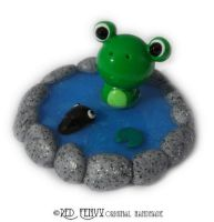 Frog and tadpole in a pond by RedFenyx