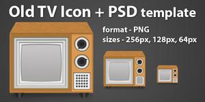 Old TV Icon + PSD template by borislav-dakov