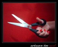 scissors in red by spluft